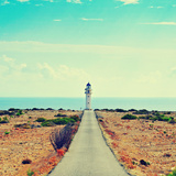 View of Beacon Far De Barbaria in Formentera, Balearic Islands, Spain, with a Retro Effect Poster by  nito