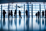 Travelers Silhouettes at Airport,Beijing Photographic Print by  06photo