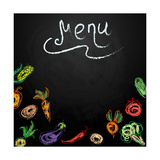 Chalkboard with Vegetables for Restaurant Menu Prints by  BerSonnE
