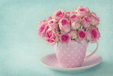 Pink Roses in a Cup on Blue Background Fotodruck von  egal