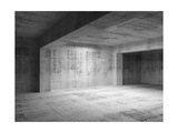 Empty Abstract Dark Concrete Room Interior Print by Eugene Sergeev