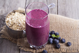 Smoothie with Blueberries and Oatmeal Photographic Print by Elena Veselova