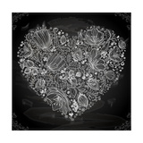 Stylish Floral Heart, Hand Drawn Retro Flowers Print by Ozerina Anna