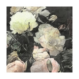 Art Floral Vintage Watercolor Background with White and Light Pink Roses and Peonies Premium Giclee Print by Irina QQQ