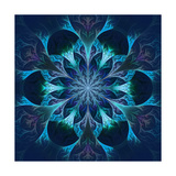 Beautiful Fractal Flower in Blue and Black Prints by  velirina