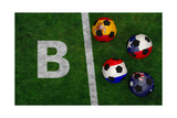 Soccer Balls with Flags of Spain, Australia, Netherlands, Chile Posters by  BarbraFord