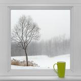 Winter Landscape Seen Through the Window and Green Cup Papier Photo par  GoodMood Photo