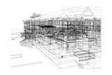 Abstract Archticture, Wire-Frame Building on the White Background Posters par  cherezoff
