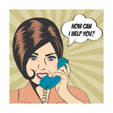Woman Chatting on the Phone, Pop Art Illustration Prints by Eva Andreea