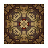 Art Nouveau Geometric Ornamental Vintage Pattern in Beige, Violet and Brown Colors Print by Irina QQQ