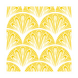 Art Deco Geometric Pattern in Bright Yellow Prints by  tukkki