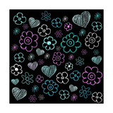 Flower Doodles on Black Chalk School Board Print by Maaike Boot