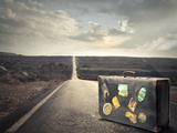 Vintage Suitcase on a Deserted Road Photographic Print by  olly2