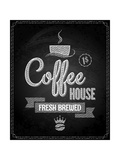 Coffee Menu Design Chalkboard Background Prints by  Pushkarevskyy