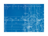 Architectural Drawing, Made by Hand on a Blue Background Prints by  molodec