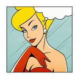 Thinking Woman in Retro Comics Style Premium Giclee Print by  Heizel