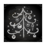 Doodle Christmas Tree with Balls for Xmas Design Posters by Ozerina Anna
