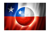 Soccer Football Ball with Chile Flag Poster av  daboost