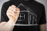 Real Estate, Technology and Accomodation - Picture of Man Drawing a House on Virtual Screen Photographic Print by  dolgachov