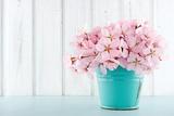 Cherry Blossom Flower Bouquet on Wooden Background Papier Photo par Anna-Mari West