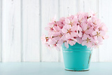 Cherry Blossom Flower Bouquet on Wooden Background Poster by Anna-Mari West