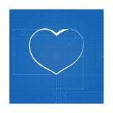 Heart Symbol Like Blueprint Drawing Posters by  eriksvoboda