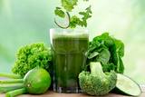 Healthy Green Vegetable Juice on Wooden Table Poster by  Kesu01