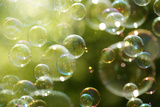 Soap Bubbles Floating in the Air as the Summer Sun Sets Reproduction photographique par  Flynt