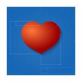 Heart Symbol Like Blueprint Drawing Prints by  eriksvoboda