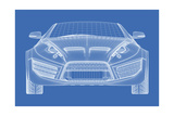 Sports Car Blueprint for Concept Car Prints by  Misha