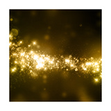 Gold Glittering Stars Dust Trail Background Print by Ron Dale