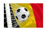 Belgium Waving Flag and Soccer Ball in Goal Net Print by  BarbraFord