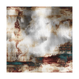 Art Abstract Acrylic Background in White, Grey, Brown and Green-Blue Colors Premium Giclee Print by Irina QQQ