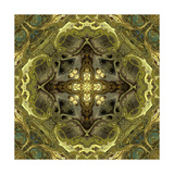Art Nouveau Geometric Ornamental Vintage Pattern in Green Colors Art by Irina QQQ