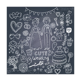 Vintage Wedding Set in Cartoon Style on Chalkboard Background Prints by  smilewithjul