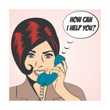 Woman Chatting on the Phone, Pop Art Illustration Print by Eva Andreea