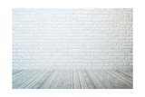Empty Room with White Brick Wall and Wooden Floor Posters by  auris