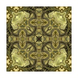 Art Nouveau Geometric Ornamental Vintage Pattern in Green Colors Poster by Irina QQQ