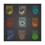 Colorfull Menu Icons - Meals Prints by  ONiONAstudio