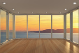 Empty Modern Lounge Area with Large Bay Window and View of Sea Photographic Print by  FreshPaint