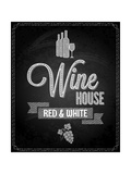 Wine Menu Design Chalkboard Background Póster por  Pushkarevskyy