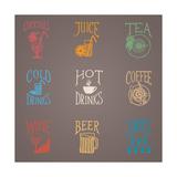 Colorfull Menu Icons - Drinks Kunstdruck von  ONiONAstudio