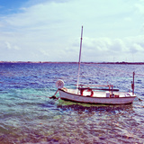Picture of a Fishing Boat in Estany Des Peix Lagoon, in Formentera, Balearic Islands, Spain Stampa fotografica di  nito