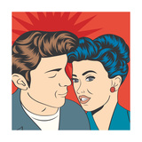 Man and Woman Love Couple in Pop Art Comic Style Posters by Eva Andreea