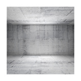 Abstract White Interior of Empty Room with Concrete Walls Prints by Eugene Sergeev