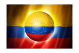 Soccer Football Ball with Colombia Flag Plakater av  daboost