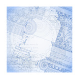 Blueprint, Hand Draw Sketch Ionic Architectural Order Poster by  -Vladimir-