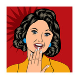 Pop Art Illustration of a Laughing Woman Prints by Eva Andreea