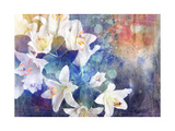 Artistic Abstract Watercolor Painting with Lily Flowers on Paper Texture Print by  run4it