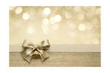 Golden Ribbon Bow with Bokeh, Christmas Decoration Print by Liang Zhang
